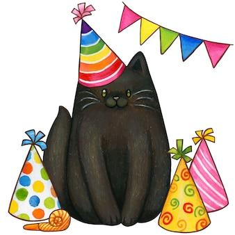 Fête colorée de chaton noir dessiné à la main