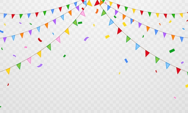Fête des confettis de drapeau fond de célébration coloré.