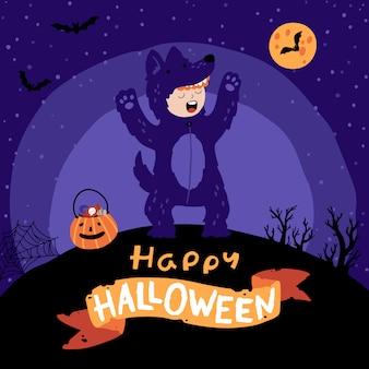 Fête costumée halloween pour enfants.