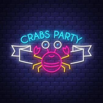 Fête des crabes. inscription au néon