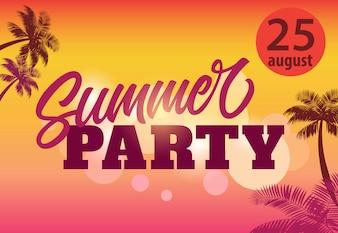 Fête d'été, août vingt-cinq flyer avec des silhouettes de palmiers et le coucher du soleil