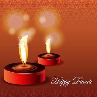 Fête de diwali. fond brillant de vacances diwali avec lampes diya et rangoli.