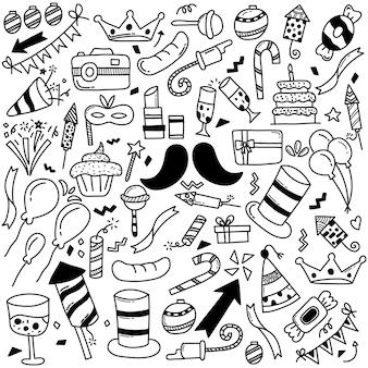 Fête de doodle dessiné à la main