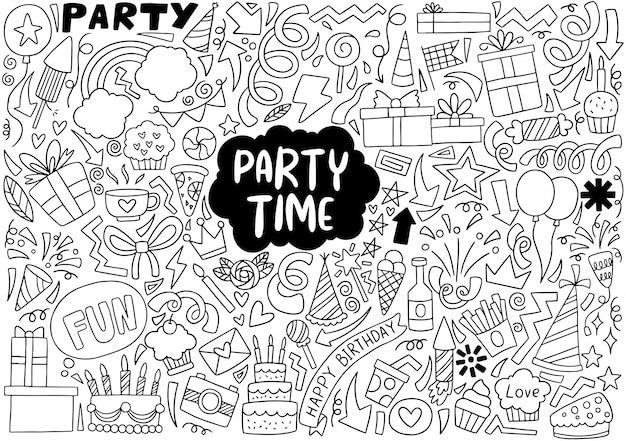 Fête doodle joyeux anniversaire