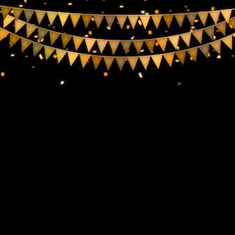 Fête avec drapeaux et confettis