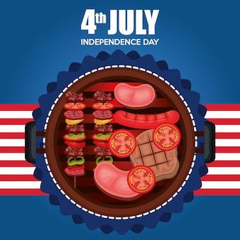 Fête du barbecue de la fête de l'indépendance des états-unis