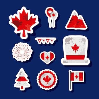 La Fête Du Canada A Défini Dix Icônes Vecteur Premium