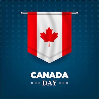 Fête du canada avec drapeau réaliste