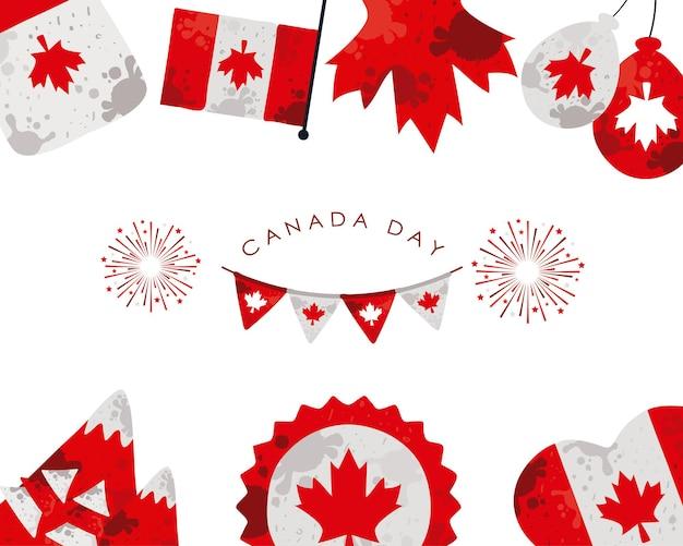 Fête du canada avec des guirlandes et des drapeaux