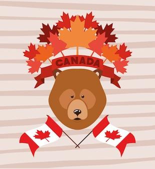 Fête du canada avec ours et feuille d'érable