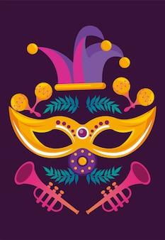 Fête du carnaval de mardi gras avec chapeau de bouffon et trompettes