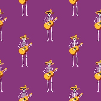 Fête du jour des morts. modèle sans couture de dea de los muertos. des squelettes peints jouent des instruments de musique et dansent.