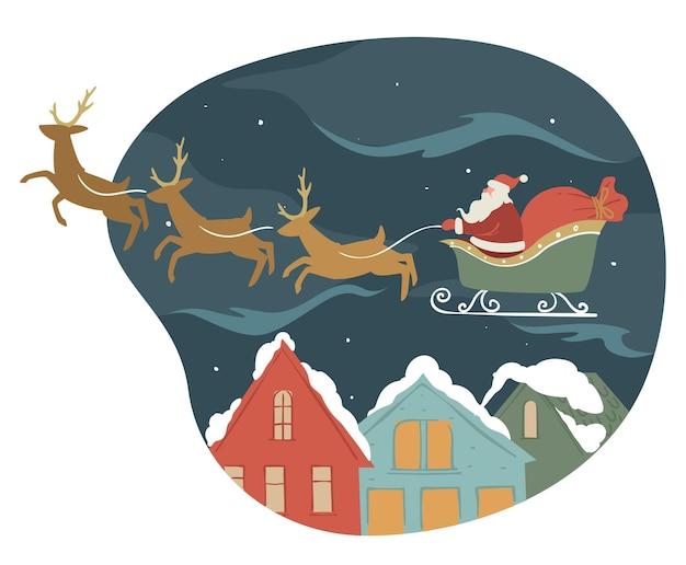 Fête du nouvel an et de noël, vacances d'hiver. le père noël saluant les citoyens avec noël, montant sur un traîneau avec des rennes. grand-père frost avec des cadeaux en sac. cadeaux la veille, vecteur à plat