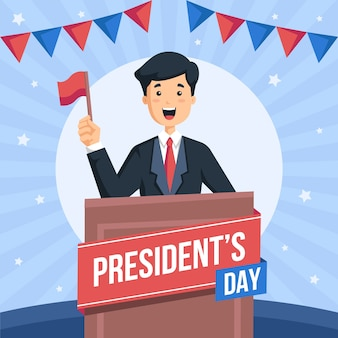 Fête du président au design plat