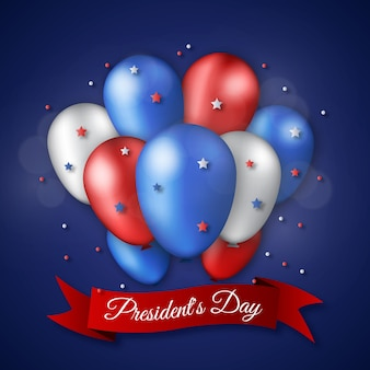 Fête du président avec des ballons et des étoiles réalistes