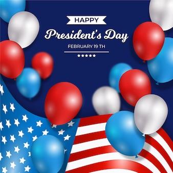 Fête du président avec des ballons réalistes