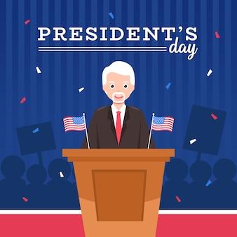 Fête du président avec dessin animé de personnage et drapeau.