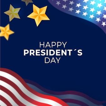 Fête du président avec drapeau et étoiles réalistes