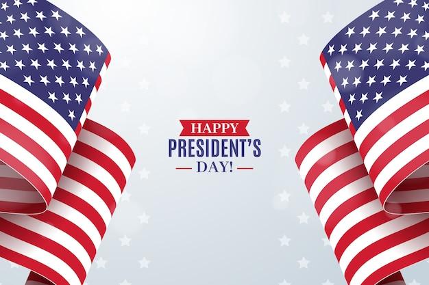 Fête du président avec drapeau réaliste