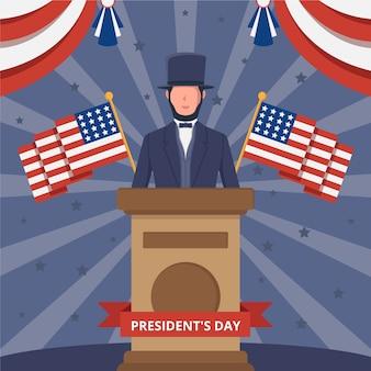 Fête du président plat avec le caractère de lincoln