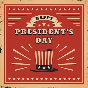 Fête du président vintage et chapeau haut de forme avec drapeau