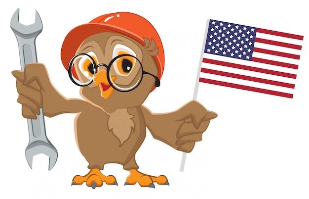 Fête du travail aux états-unis. chouette tenant une clé et un drapeau américain