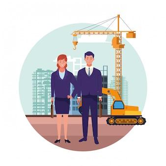 Fête du travail, emploi, occupation, célébration nationale, femme affaires, à, homme affaires, collègues, ouvriers, devant, construction ville, vue, vue, illustration