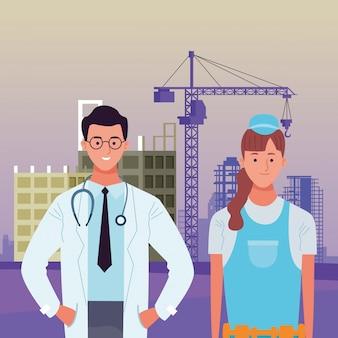 Fête du travail emploi profession célébration nationale avec illustration de femme médecin et constructeur