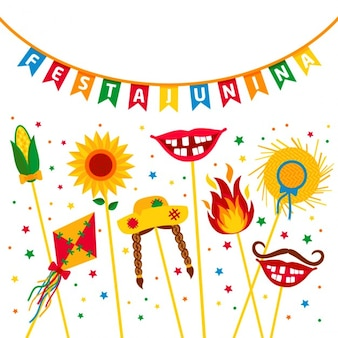 Fête du village festa junina en amérique latine icônes situé dans la couleur lumineuse décoration de style plat