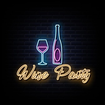 Fête du vin enseignes au néon vecteur modèle de conception enseigne au néon