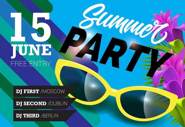 Fête d'été, 15 juin lettrage avec lunettes de soleil jaunes. invitation d'été
