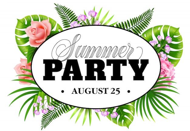 Fête d'été août vingt-cinq flyer avec des feuilles tropicales et des fleurs.