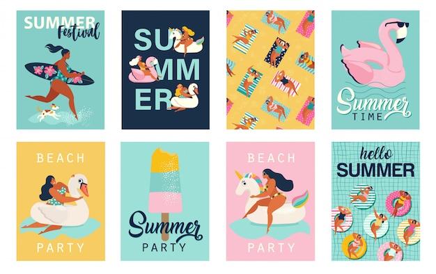 Fête d'été. bonjour les affiches d'été. ensemble d'affiches rétro mignon.