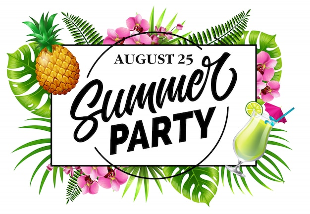 Fête d'été, invitation vingt-cinq août avec des feuilles tropicales, des fleurs, des ananas