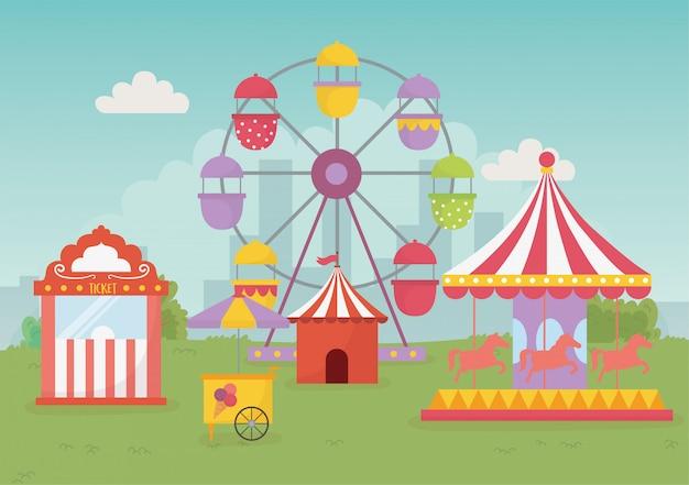 Fête foraine carnaval tente carrousel ballons grande roue loisirs divertissement