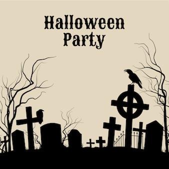 Fête d'halloween sur un cimetière effrayant, affiche rétro