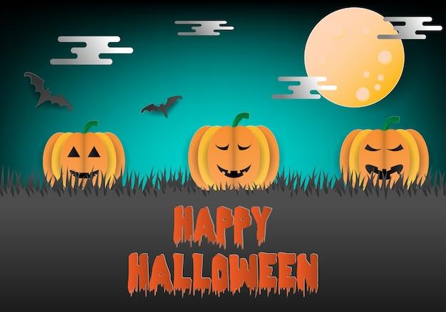 Fête d'halloween avec des citrouilles et des chauves-souris