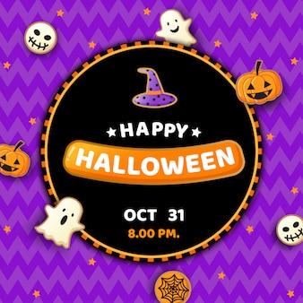 Fête d'halloween avec des cookies monstre sur violet