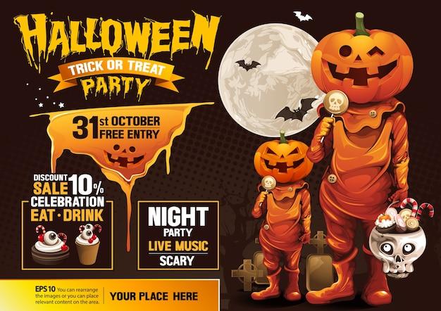 Fête d'halloween, fantôme, friandise ou astuce.