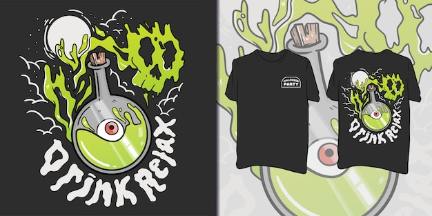 Fête d'halloween. illustration de bouteille de poison pour t-shirt