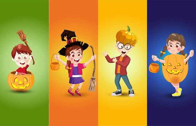 Fête d'halloween pour enfants avec différentes poses illustrations conception de personnages