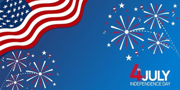 Fête de l'indépendance, 4 juillet vacances du 4 juillet conception d'affiches avec symboles du drapeau américain des états-unis et étoile rouge bleu et blanc.
