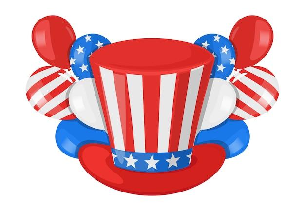 Fête de l'indépendance américaine avec chapeau de président et ballons