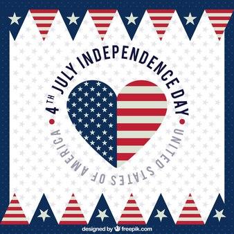 Fête de l'indépendance américaine avec drapeau et coeur