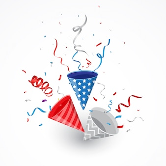 Fête de l'indépendance avec des confettis américains et du popper