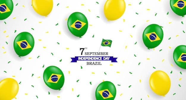 Fête de l'indépendance du brésil avec des ballons et des confettis