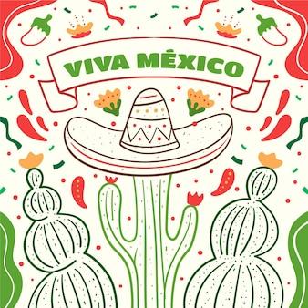 Fête de l'indépendance du mexique dessiné à la main