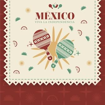 Fête de l'indépendance du mexique en style papier