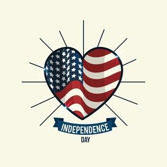 Fête de l'indépendance avec emblème de coeur et ruban