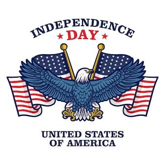 Fête de l'indépendance des états-unis d'amérique. drapeau américain avec aigle.